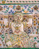 Hanuman pagoda base pattern in wat arun. Stock Photos