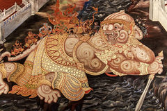 Hanuman painting murals Ramayana. The mural of Ramayana painting on the wall about literary epic Ramayana area Temple , Wat total 178 rooms built since the reign stock photography