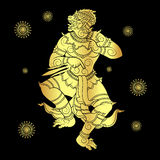 Hanuman silhouetted in gold. Drawing of a hanuman or monkey king silhouetted in gold Royalty Free Stock Photography