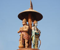 Hanuman statue. Statue of hanuman and arjuna in indian rishikesh royalty free stock photo