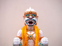 Hanuman statue with garland thailand style Royalty Free Stock Image