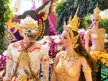 Hanuman und yaksha in Musterbangkok-Orchideen Lizenzfreie Stockfotografie