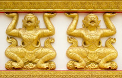 Hanuman wall art at public temple. In Thailand Stock Image