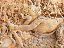 Hanuman Wood Carving Talla de madera de la historia del ramayana foto de archivo libre de regalías