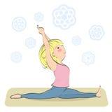 Hanumanasana Actitud del mono Fractura de la yoga ilustración del vector