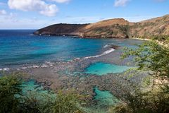 Hanumanfjärden i Hawaii Arkivbilder
