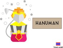HanumanWhite Monkey in Thai Literature vector illustration