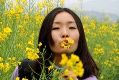 Όμορφο κορίτσι λουλουδιών Canola Στοκ Φωτογραφία