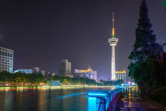 Haohe River and TV tower at night. This photo was taken in Haohe Scenic Area. Located in the center of Nantong, a national famous historical and cultural city Stock Image