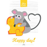 Haoppy day mouse. Mouse keeps cheese heart delicious eating happy day love valentine card smile Royalty Free Stock Images