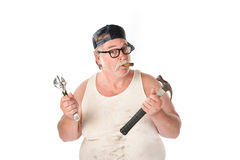 Hapless handyman Royalty Free Stock Photo