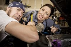 Hapless mechanics Stock Photography