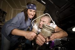 Hapless mechanics Royalty Free Stock Photography