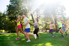 Happ young sportsmen racing wit badge numbers. Fitness, sport, friendship, race and healthy lifestyle concept - group of happy teenage friends or sportsmen Royalty Free Stock Photography