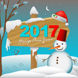 2017 Happay New Year card or background with snowman,. Snowflakes and stars stock illustration