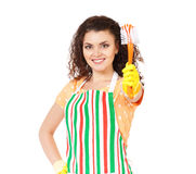 Happe cleaning woman Royalty Free Stock Images