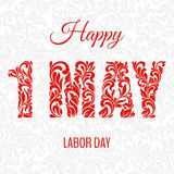 Happe 1 may labor day. Decorative Font made in swirls and floral stock illustration