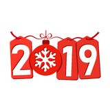 Happe New Year background. Isolated 2019 red numbers, tags, bauble, snowflake. Flat Christmas ball. Design celebration. Card, promotion discount, calendar, sale vector illustration