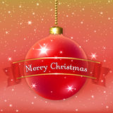 Happe New Year Christmas bauble. Merry Christmas decoration background with 3d red ball. Stars, glitter, bauble and ribbon, white winter snowflakes. Xmas card Stock Photography