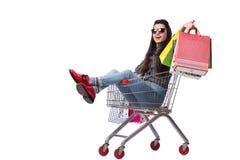 Happer молодой женщины после ходить по магазинам изолированный на белизне Стоковая Фотография RF