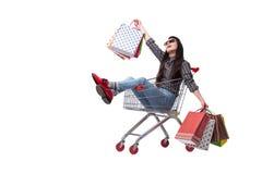 Happer молодой женщины после ходить по магазинам изолированный на белизне Стоковое фото RF
