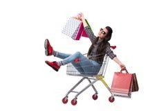 Happer молодой женщины после ходить по магазинам изолированный на белизне Стоковое Изображение