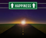 Happieness Sign on the Road Royalty Free Stock Photos