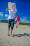 The happiest childhood: father and son having fun on the tropica Stock Images