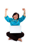 Happiest Chinese Woman with laptop Stock Photo