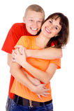 Happiest guy hugs the girl Stock Photos