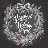 Happiest of holiday to you calligraphy quote Royalty Free Stock Photo
