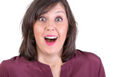 Happily Amazed Woman Looking at You Royalty Free Stock Images