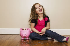 Happily counting money Royalty Free Stock Photo