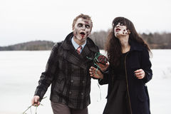 Happily diseased infected couple Royalty Free Stock Photos