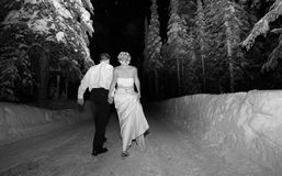 Happily Ever After. A newlywed couple leaving the party Royalty Free Stock Images