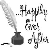 Happily Ever After Pen Ink. Illustration of an old-fashioned feather quill pen in an ink bottle and the headline Happily Ever After Royalty Free Stock Photography