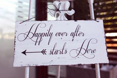 Happily ever after woodenboard Stock Photography