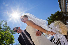 Happily married couple in sunglasses Royalty Free Stock Photography