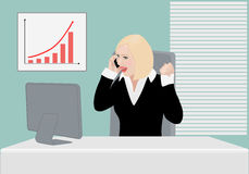 Happily surprised success business lady Royalty Free Stock Image