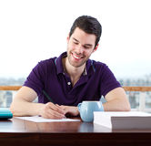 Happily writing a letter Stock Photos