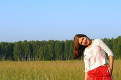 happines девушки поля Стоковое Изображение RF