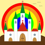 Happiness castle. Happines castle with colorful rainbow Stock Photo