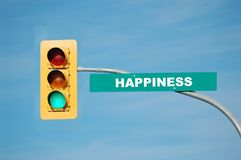 Happiness. Green traffic light with the word happiness written on the sign Royalty Free Stock Photography