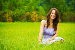 Happiness. Candid skipping carefree adorable woman in field Stock Images
