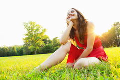 Happiness. Happy, in love young woman Royalty Free Stock Images