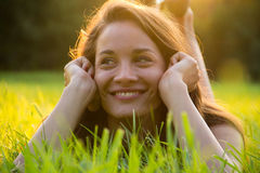 Happiness. Happy young woman at summer park Stock Photography