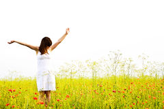 Happiness. Happy young woman at summer field Stock Image