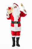 Happiness. Santa Claus with a gift and a bell on a white background Stock Photos