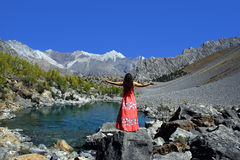 Happiness. Lucky girl adores beautiful mountain landscape Stock Image