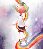 Happiness. Boy surrounded by rainbow, feeling happiness serenity and joy Royalty Free Stock Photos